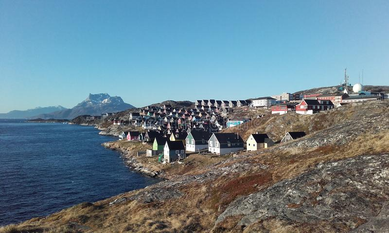 Nuuk house's sermitsiaq royalty free stock photography