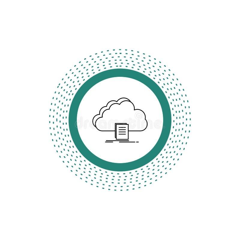 nuvem, acesso, documento, arquivo, linha ícone da transferência Ilustra??o isolada vetor ilustração stock
