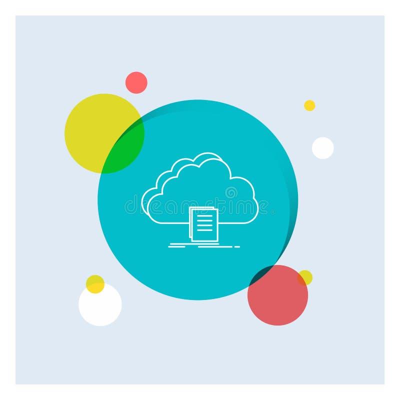 nuvem, acesso, documento, arquivo, linha branca fundo colorido da transferência do círculo do ícone ilustração stock