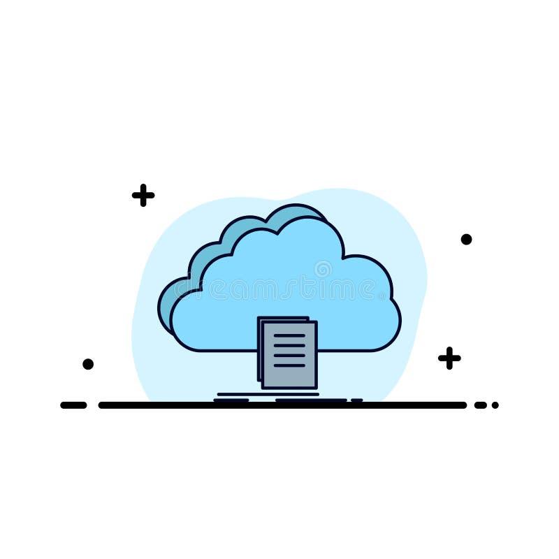 nuvem, acesso, documento, arquivo, vetor liso do ícone da cor da transferência ilustração stock
