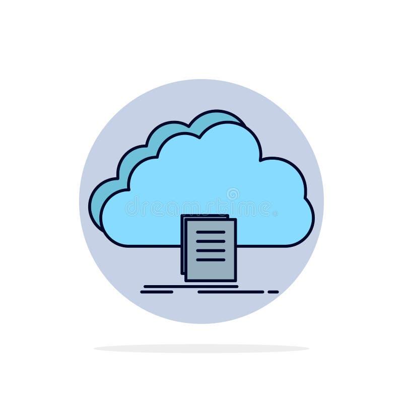 nuvem, acesso, documento, arquivo, vetor liso do ícone da cor da transferência ilustração do vetor