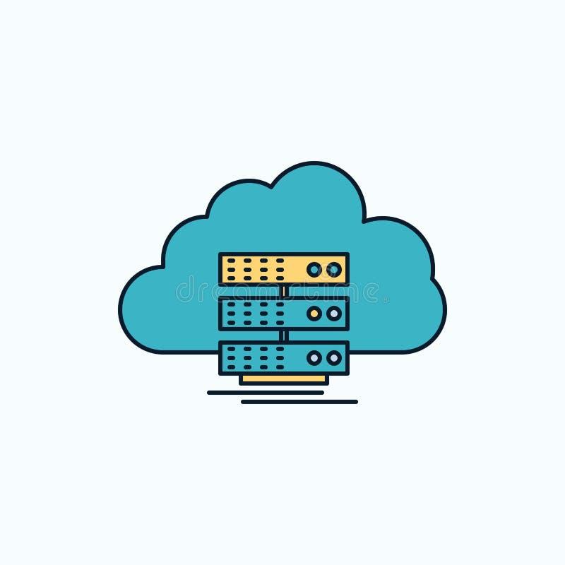 nuvem, armazenamento, computando, dados, ícone liso do fluxo sinal e s?mbolos verdes e amarelos para o Web site e o appliation m? ilustração do vetor