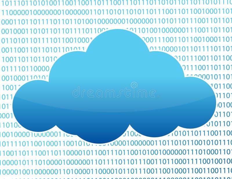 Nuvem azul e números binários ilustração royalty free