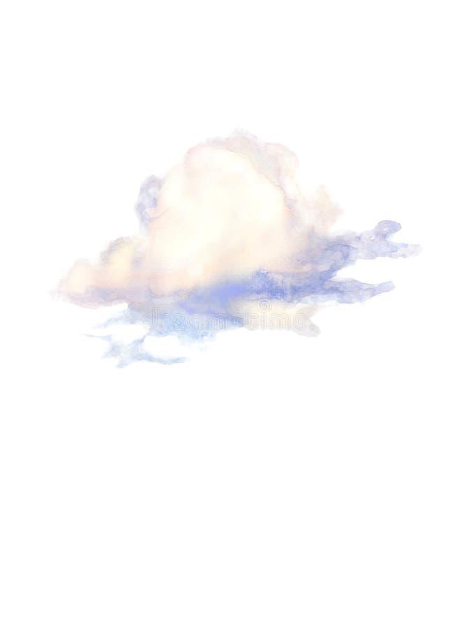 Nuvem azul ilustrada pela aquarela ilustração stock