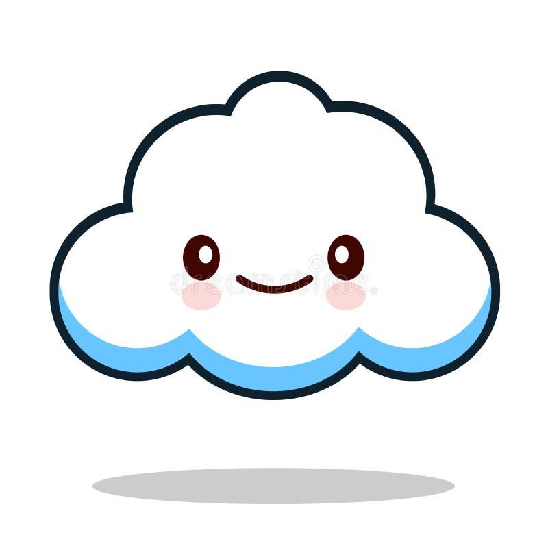 Nuvem bonito do emoticon branco dos desenhos animados de Kawaii ilustração stock
