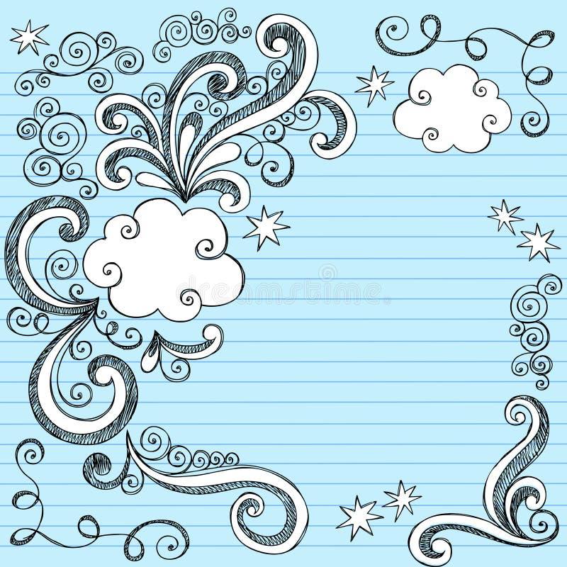 A nuvem borbulha Doodles esboçado ilustração stock