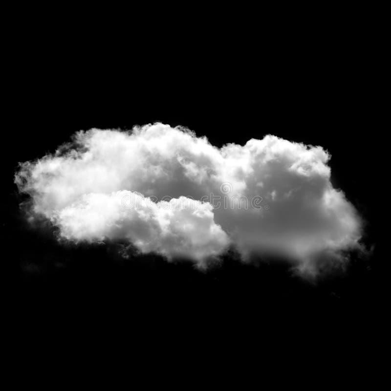 Nuvem branca isolada sobre o fundo preto, ilustração 3D foto de stock