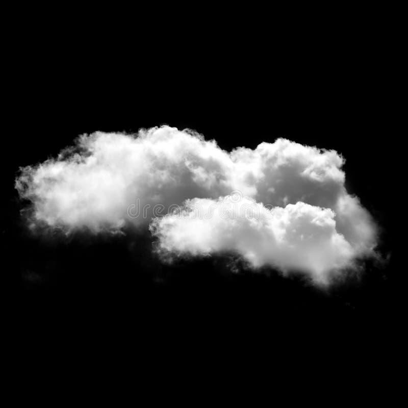 Nuvem branca isolada sobre o fundo preto, ilustração 3D foto de stock royalty free