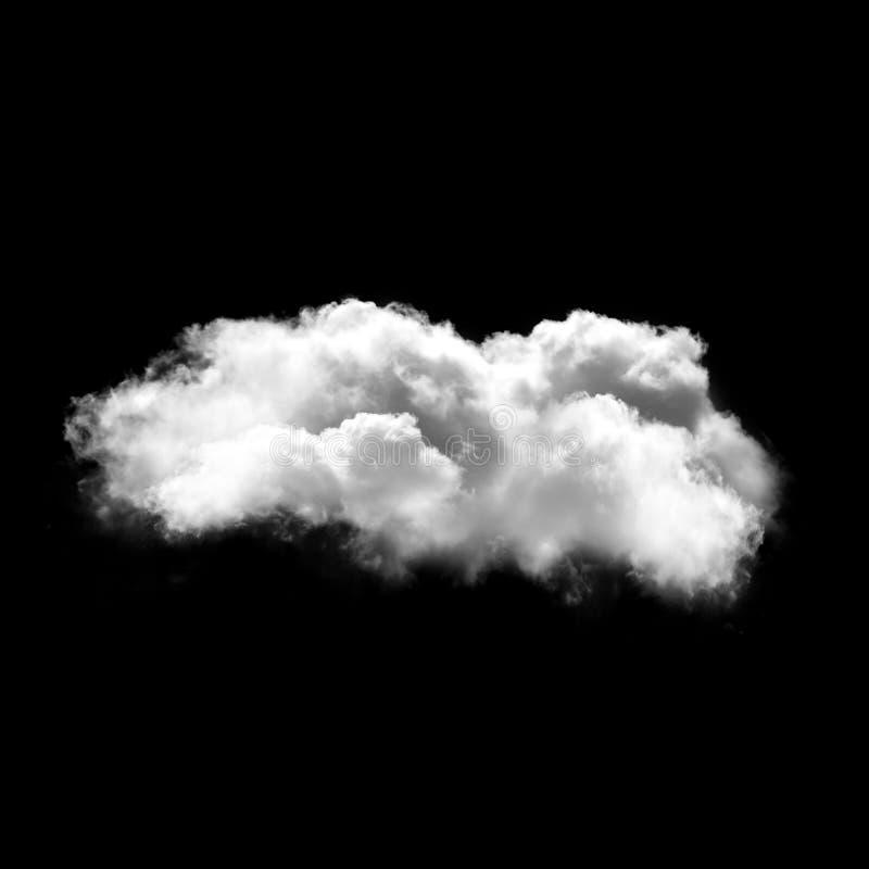 Nuvem branca isolada sobre o fundo preto, ilustração 3D imagens de stock royalty free