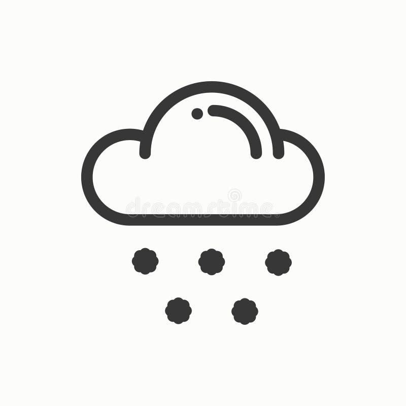 Nuvem, céu, linha de neve ícone simples Símbolos de tempo meteorologia Elemento do projeto da previsão Molde para app móvel, Web ilustração stock