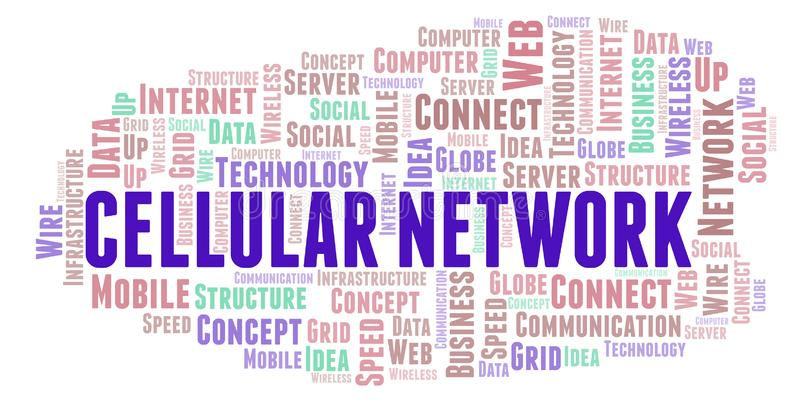 Nuvem celular da palavra da rede ilustração stock