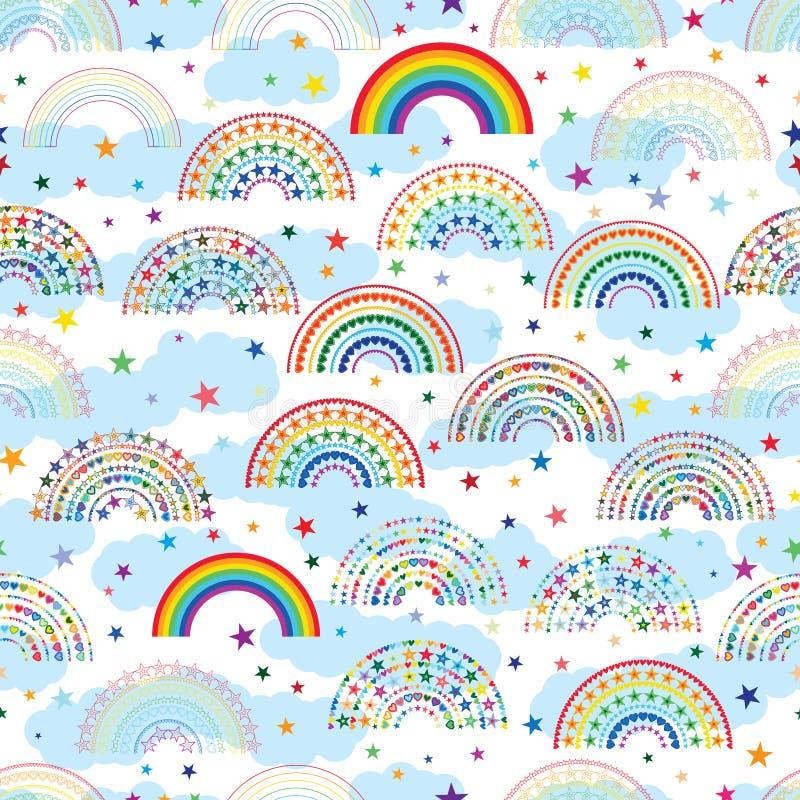 Nuvem colorida da estrela do amor do arco-íris teste padrão sem emenda da meia ilustração royalty free
