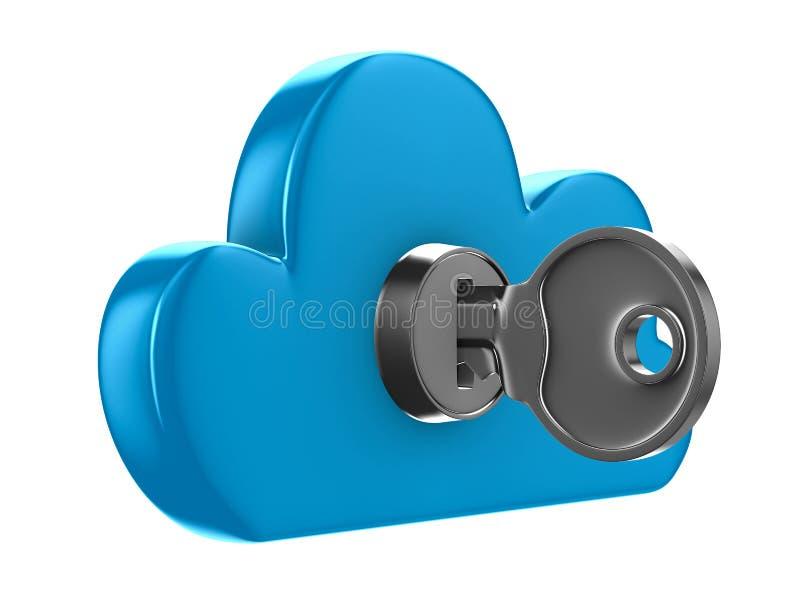 Nuvem com chave no fundo branco ilustração royalty free