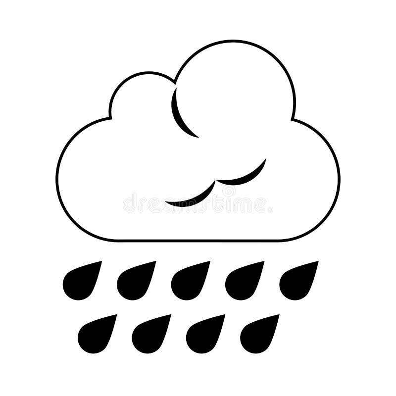 Nuvem com chover o s?mbolo de tempo das gotas em preto e branco ilustração royalty free