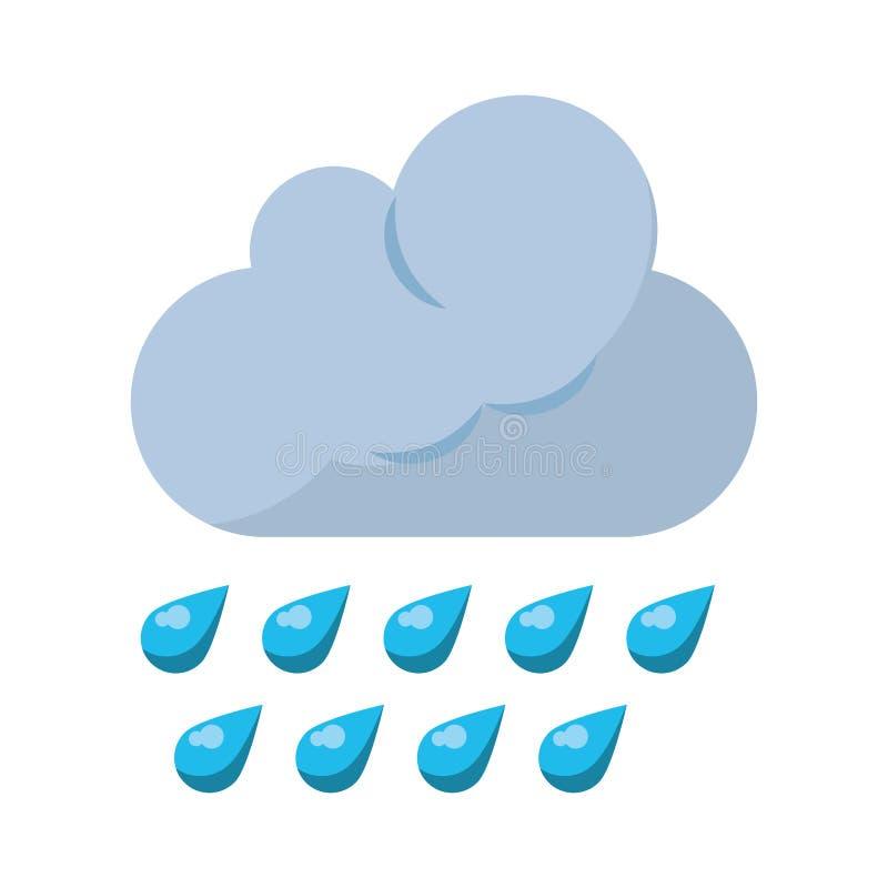 Nuvem com chover o símbolo de tempo das gotas ilustração do vetor