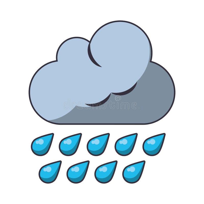 Nuvem com chover o s?mbolo de tempo das gotas ilustração royalty free