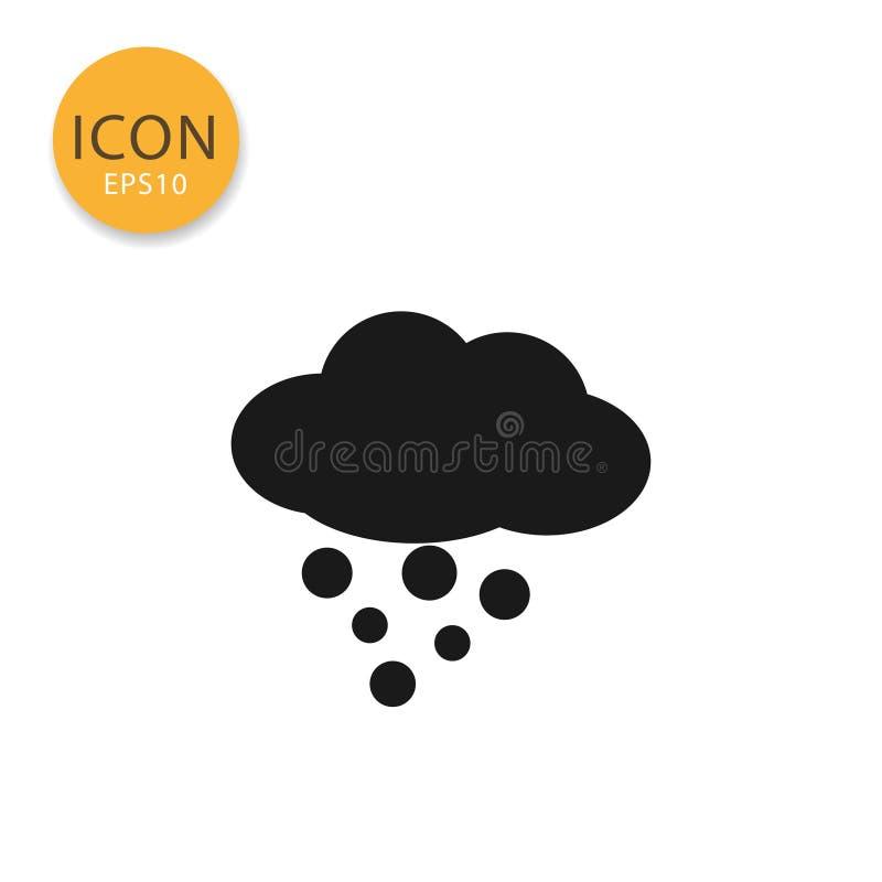 Nuvem com estilo liso isolado ícone da neve ilustração stock