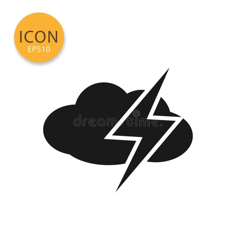 Nuvem com estilo liso isolado ícone do trovão ilustração royalty free
