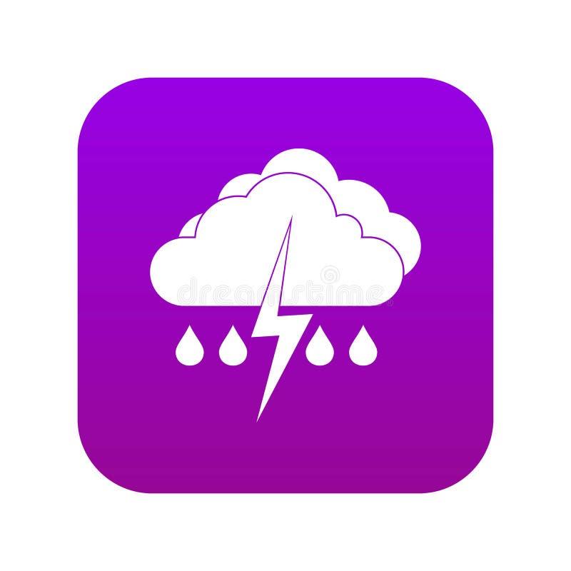Nuvem com roxo digital do ícone do relâmpago e da chuva ilustração stock
