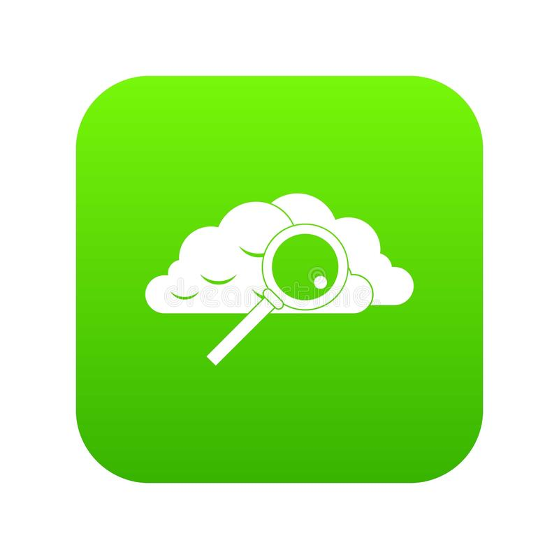 Nuvem com verde digital do ícone da lupa ilustração royalty free