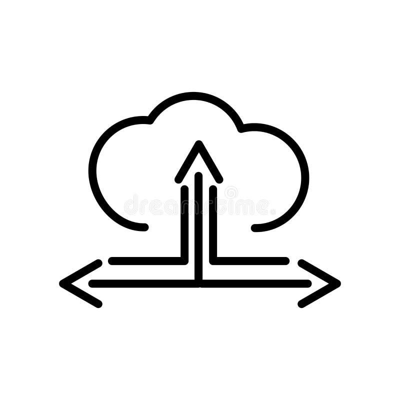 Nuvem com vetor do ícone da conexão isolada no fundo branco ilustração stock