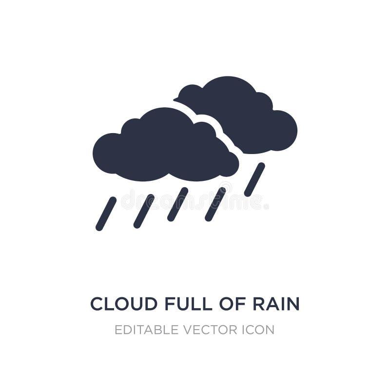 nuvem completamente do ícone da chuva no fundo branco Ilustração simples do elemento do conceito do tempo ilustração royalty free