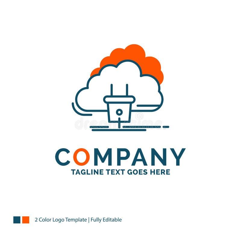 Nuvem, conexão, energia, rede, poder Logo Design Azul e ilustração stock