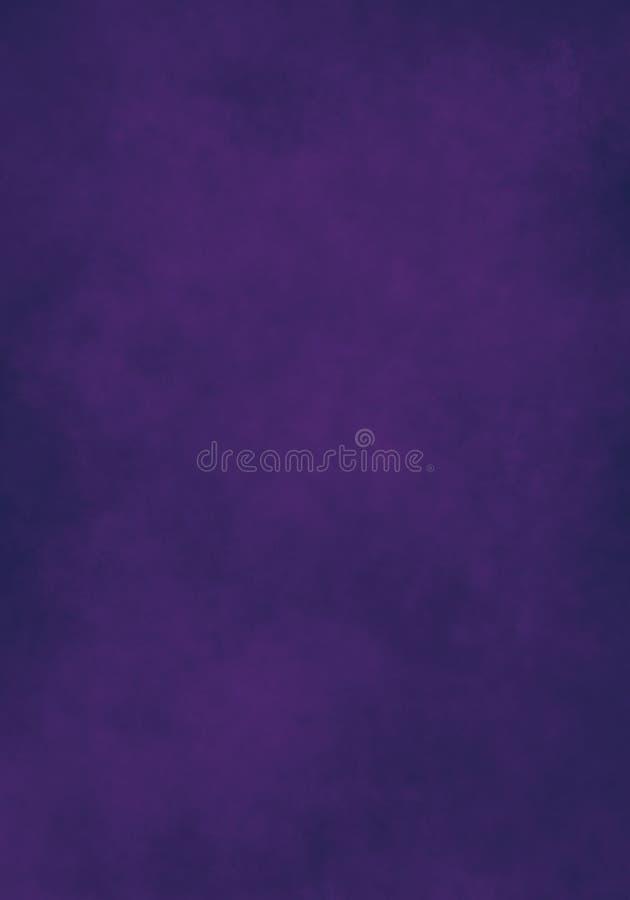 Nuvem da cor de água, papel velho, fundo roxo escuro da parede ilustração royalty free