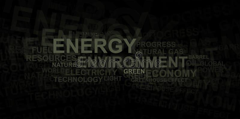 Nuvem da energia e da palavra do â do ambiente ilustração do vetor