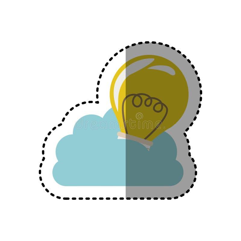 nuvem da etiqueta na forma do cúmulo com a ampola com filamentos ilustração stock