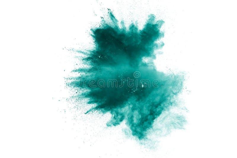 Nuvem da explosão do pó da cor verde isolada no fundo branco fotos de stock