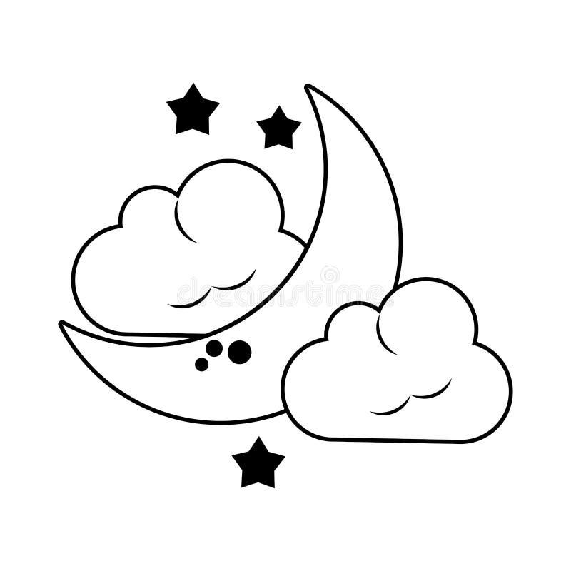 Nuvem da lua e gota chover em preto e branco ilustração stock