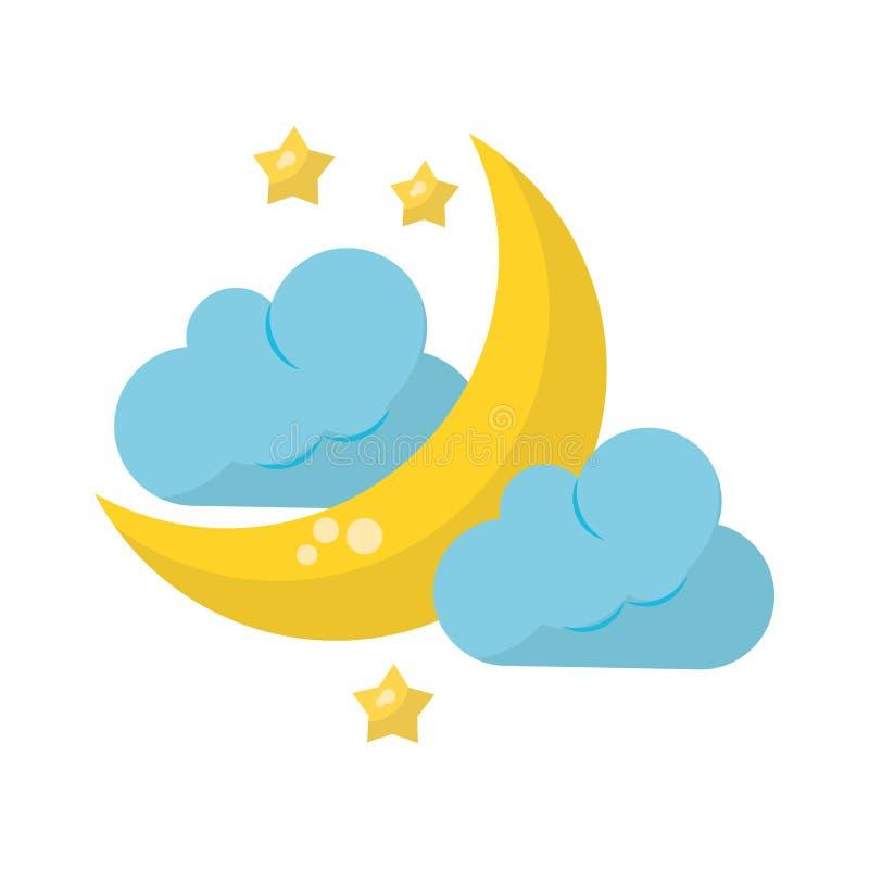 Nuvem da lua e gota chover ilustração stock