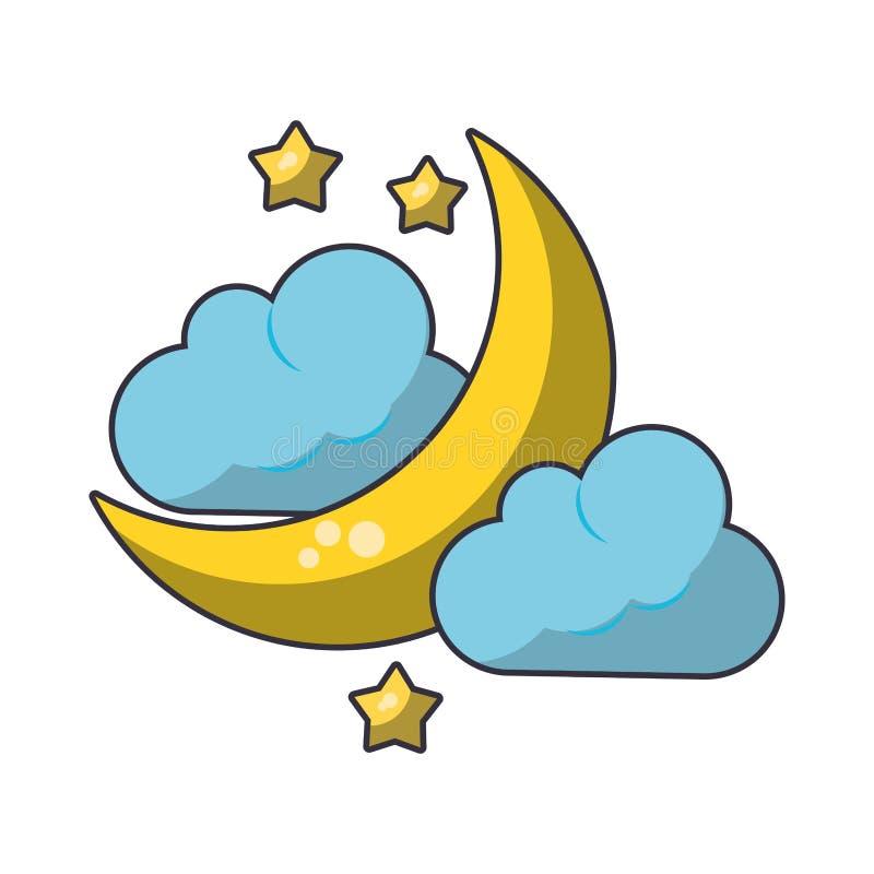Nuvem da lua e gota chover ilustração do vetor