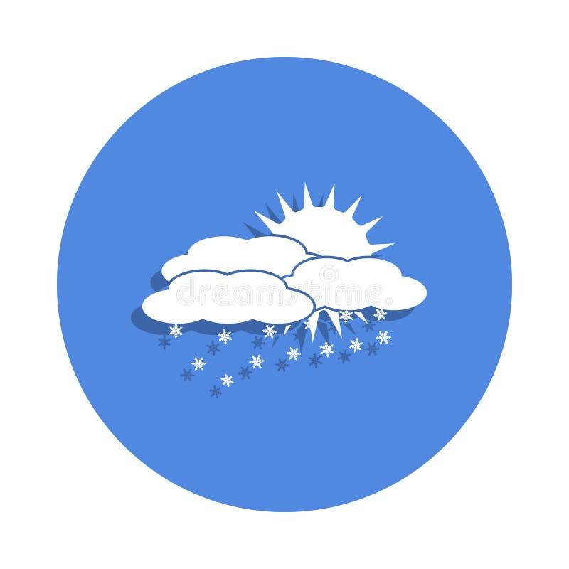 nuvem da neve com o ícone do sol no estilo do crachá Um do ícone da coleção do tempo pode ser usado para UI, UX ilustração royalty free