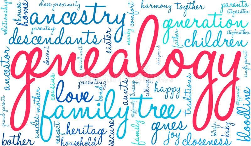 Nuvem da palavra da árvore genealógica ilustração royalty free
