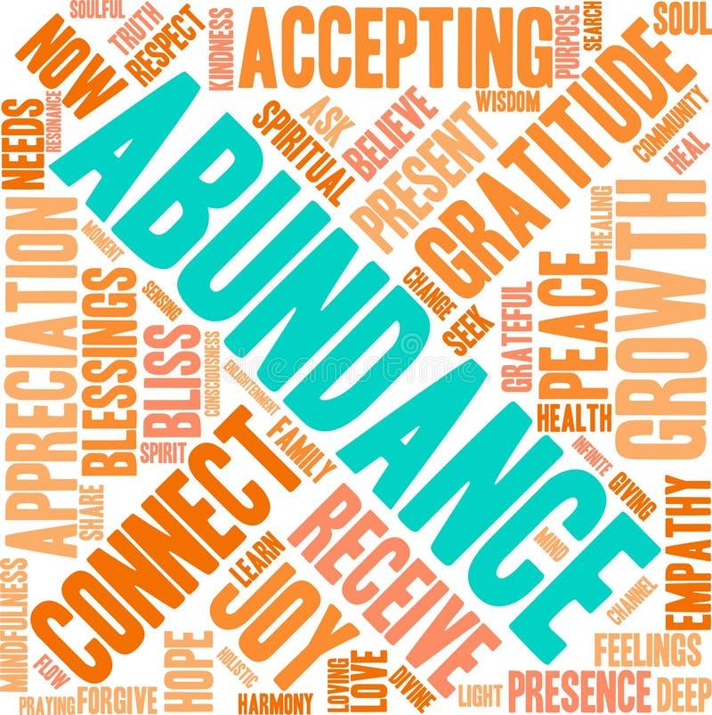 Nuvem da palavra da abundância ilustração do vetor