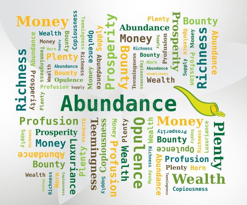 Nuvem da palavra - abundância com o chifre do ícone da abundância ilustração do vetor