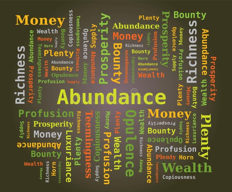 Nuvem da palavra - abundância em letras verdes no fundo escuro ilustração royalty free