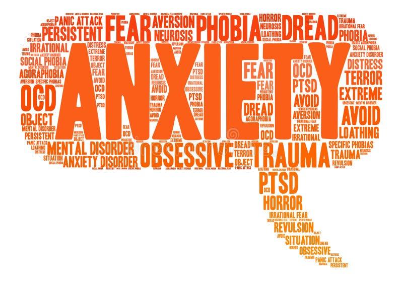 Nuvem da palavra da ansiedade ilustração do vetor