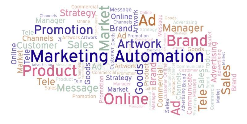 Nuvem da palavra com automatização do mercado do texto ilustração royalty free
