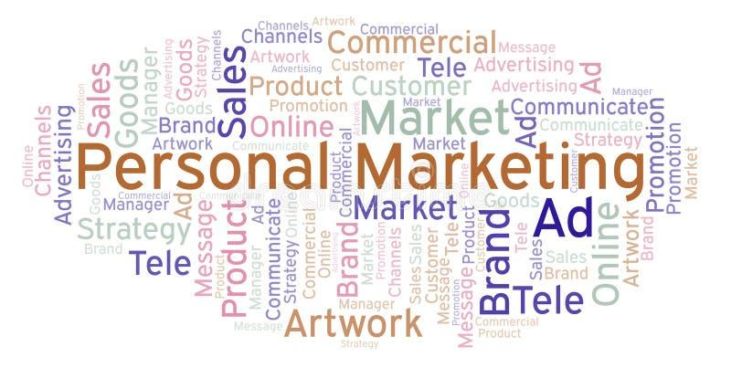 Nuvem da palavra com mercado pessoal do texto ilustração stock