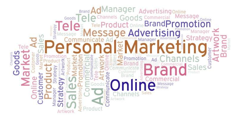 Nuvem da palavra com mercado pessoal do texto ilustração do vetor