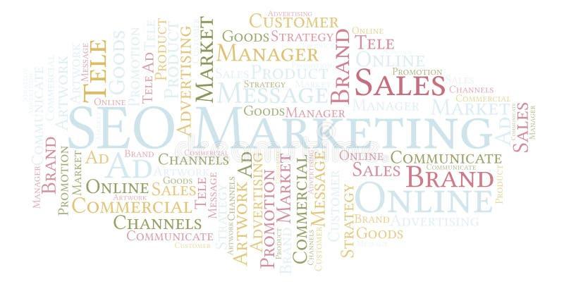 Nuvem da palavra com texto SEO Marketing ilustração royalty free