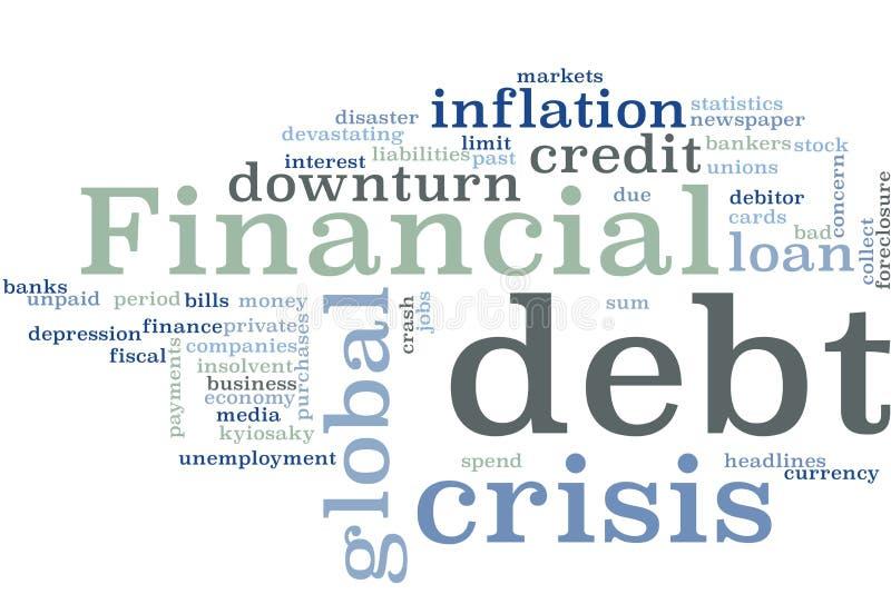 Nuvem da palavra da crise financeira imagem de stock