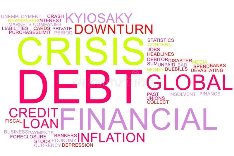 Nuvem da palavra da crise financeira fotografia de stock