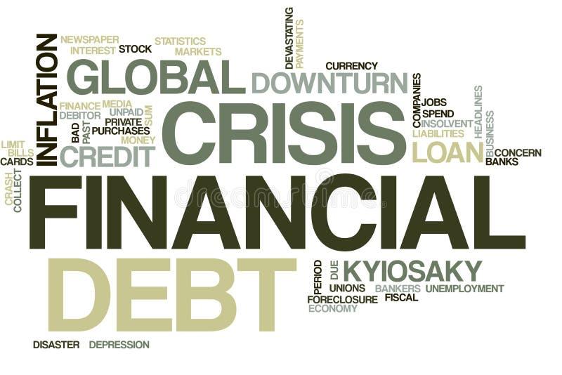 Nuvem da palavra da crise financeira foto de stock