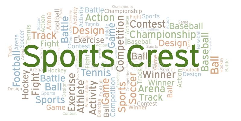 Nuvem da palavra da crista dos esportes ilustração royalty free