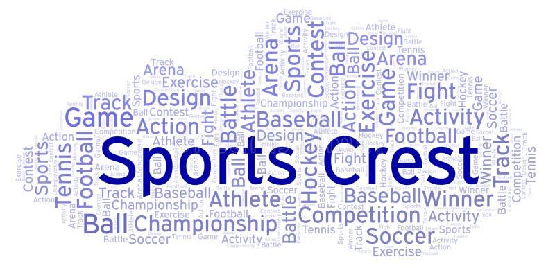Nuvem da palavra da crista dos esportes ilustração do vetor