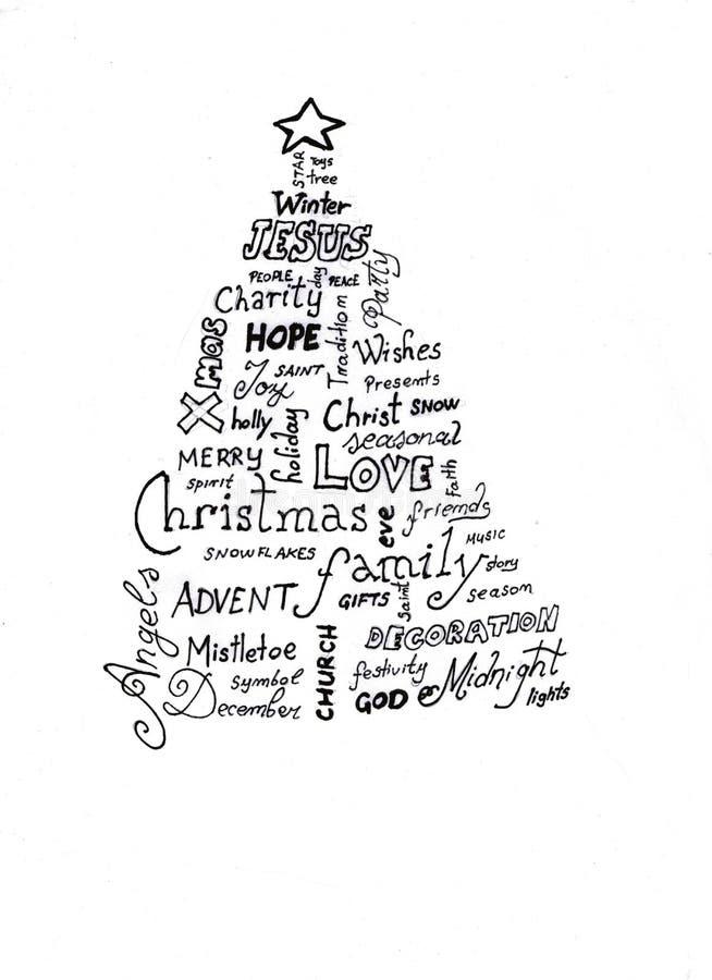 Nuvem da palavra da árvore de Natal ilustração do vetor
